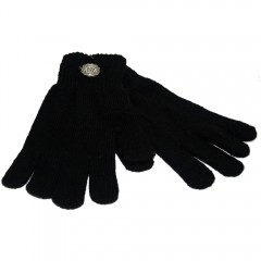 Black Gloves with Metal Badge